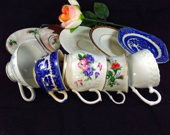 5 Vintage Mismatched Tea Cups and Saucers #2