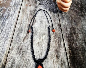 Macrame Chain with Red Jasper
