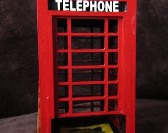 Tea house London telephone booth, table organizer,kitchen table decor Red  telephone booth