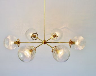 Modern Brass Chandelier With Clear Ribbed Holophane Glass Globe Shades, 6 Sockets, Hanging Lighting Fixture, BootsNGus Lights and Home Decor