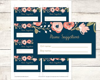 Baby Name Suggestions Card, Floral Baby Shower Name Suggestions, Floral Baby Shower Game - INSTANT DOWNLOAD