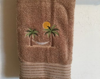 Embroidered ~HAMMOCK in PALM Trees~ Tan Bath Hand Towel