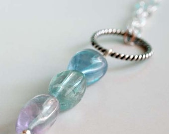 Fluorite and sterling loop necklace