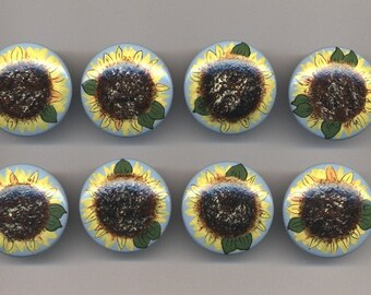 Set of 8 - SUNFLOWERS Handpainted Wooden Drawer Knobs/Pulls - Great for Little Girl's Room, Nursery, Kitchen or Office