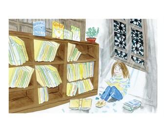 Library Girl - A4 Giclée Print