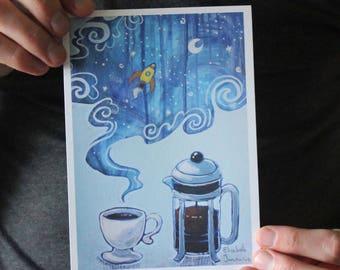 French Press Coffee Surrealist Fine Art Print
