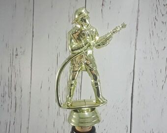 Fireman Wine Stopper -Wine Cork -Trophy Figure Cork -Wine Lovers Gift -Host/Hostess Gift - Bottle Cork - Firefighter - Fireman