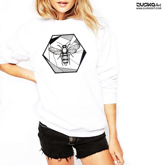 Honeycomb Bee | Unisex Heavy Blend Crewneck Sweatshirt | Geometric Art | Save The Bees | Ink Tattoo style | ZuskaArt