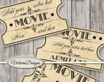 Retro Movie Tickets printable scrapbooking paper crafting crafts instant digital download printable digital collage sheet - VDTIRE1436