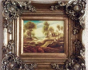 Sale Antique Vintage Oil Painting Landscape Pastoral Scene European Genre Art O/B Framed