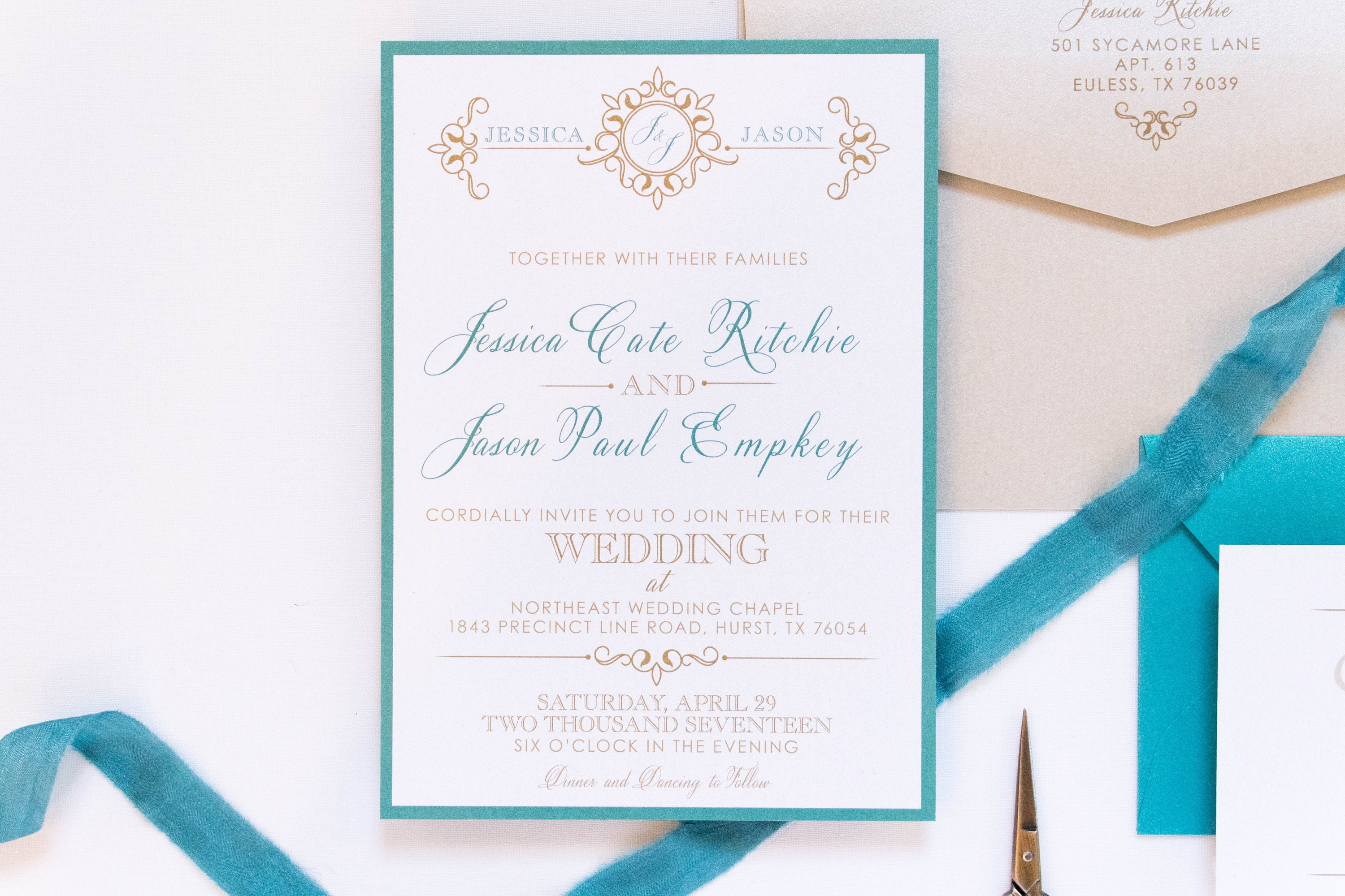 5x7 Jade Green Teal and Gold Formal Modern Wedding Invitation Suite ...