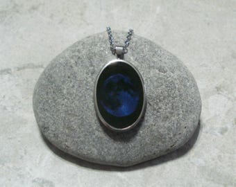 Blue moon necklace etsy blue moon necklace full moon pendant stainless steel aloadofball Images