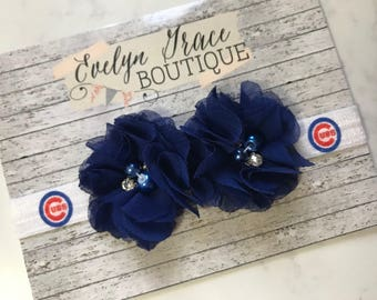 Chicago Cubs Baby Headband Girls Cubs Bow Newborn Headband Cubs Headband Baseball Headband Girls Flower Baseball Baby Headband