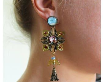 Long chandelier filigree earrings, tassel earrings, travel earrings, Quirky Earrings, Colorful Earrings, statement earrings, Old map earring