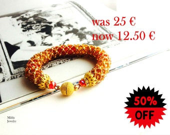 SALE 50%  Beadwork bracelet, colorful beaded bracelet, red, yellow, amber glass beads jewelry, beadweaving