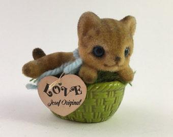Vintage Josef Originals cat, Josef Originals cat basket, flocked cat figurine, Josef cat figurine, Josef flocked cat, Josef Original Japan