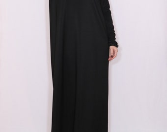 Black maxi dress Loose fit dress Women maxi dress with sleeves