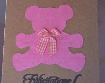Pink Teddy bear girl birth congratulations card