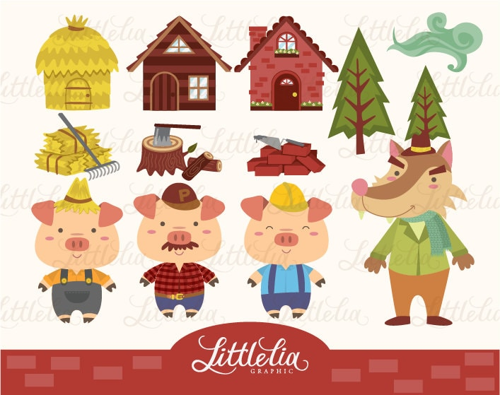 three little pig clipart set instant download 13009 rh etsy com 3 little pigs clipart free three little pigs clipart pictures
