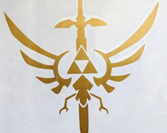 The Legend of Zelda ( Hylian Crest) Triforce with Master Sword Vinyl Decal for Car or Home