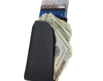 Minimalistische Lederhülle Karte w / Cash-Halter - schwarz / Karte Halter / Karte Brieftasche / Geldbörse Leder / Karte Ärmel / kostenlose Personalisierung