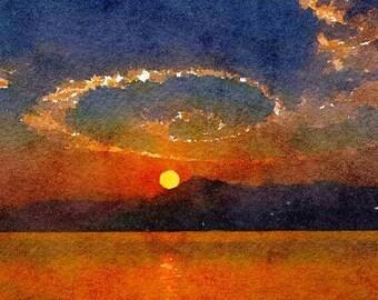 Spiral Cloud Sea Original Watercolor Brush Illustration Painting