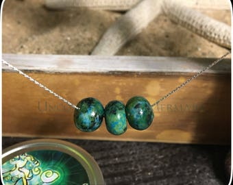 """16.25"""" Sterling Silver Floating Chrysocolla Necklace"""