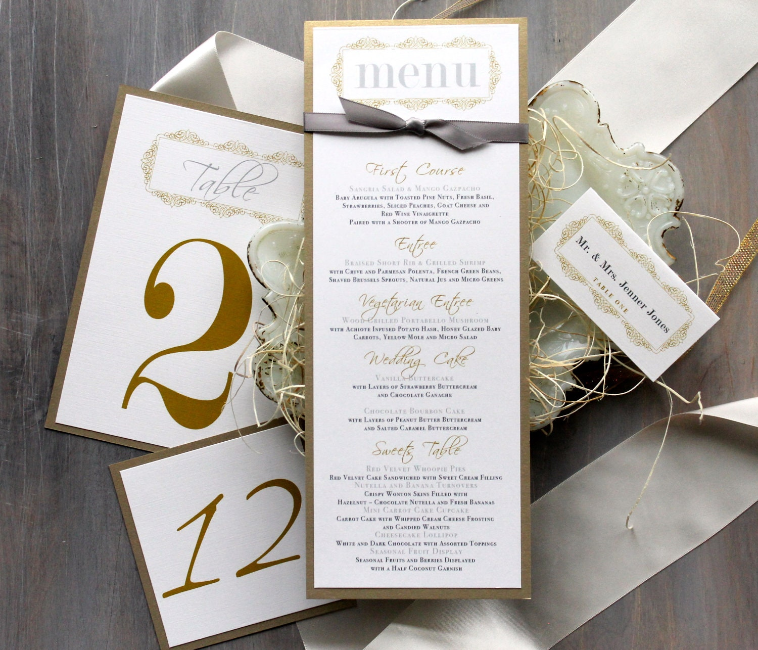 Gold Wedding Menu Cards Personalized Place Cards Gold