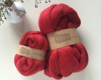 Merino Wool Roving 549 Deep Red