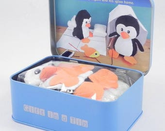 Kids craft kit, DIY sew up a penguin, kid's craft, learn to sew, children's craft gift, small childrens gift,