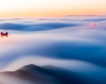 San Francisco Art - Golden Gate Bridge Fog Sunrise Photo - Foggy San Francisco Photograph with Soft Sunrise Colors at Golden Gate Bridge