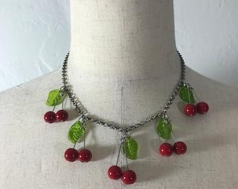 Miniature Cherry Necklace, handmade