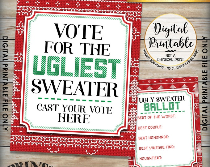"""Ugly Christmas Sweater Voting Sign and Ballots, Ugly Sweater Party, Christmas Party, 8.5x11"""" sign & 5x7"""" ballot Instant Download Printables"""