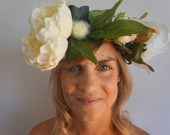 floral crown, flower crown, floral headdress, coachella, silk flowers, bride, festival, country party, boho wedding, cream crown,