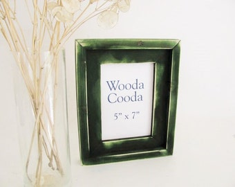 5x7  Forest green rustic picture frame. Stacked antique distressed picture frame.