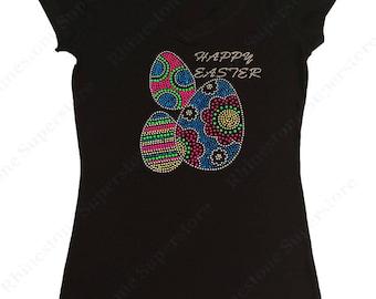 "Women's Rhinestone & Rhinestud T-Shirt "" Colorful Happy Easter Eggs "" in S, M, L, 1x, 2x, 3x"