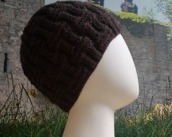 Brown hand knitted pattern beanie (child to extra small adult) - ready to ship