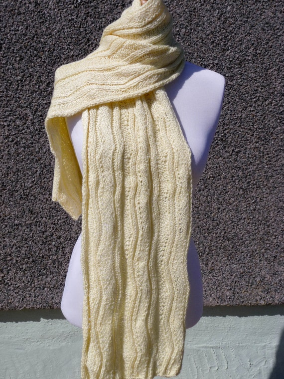 Lovely Yellow Hand Knitted Scarf