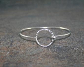 Silver Geometric Bangle Bracelet, Hook Bangle, Circle, Stacking