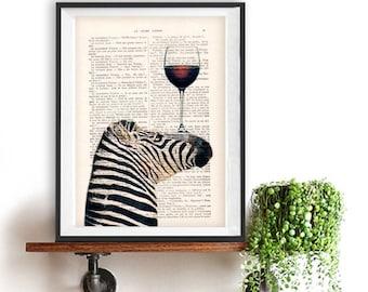 Zebra Print, Zebra with wine glass, French design, black and white, zebra poster, zebra decor, Art Print on recycled french book page
