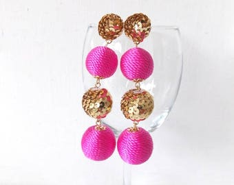 Pink and Gold Sequin Disco Ball Statement Earrings