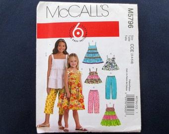 Tiered Girls' Dress & Top and Capri Pants Uncut Pattern, McCalls 5796, Size 3, 4, 5, 6