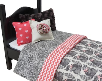 Doll Bedding for American Girl and Other 18-Inch Dolls.  Restful Raccoons.  Comforter and Three Pillows.  Gray, Cream, and Coral Pink.