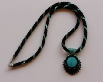 Necklace - Made With Blue-Black Beads