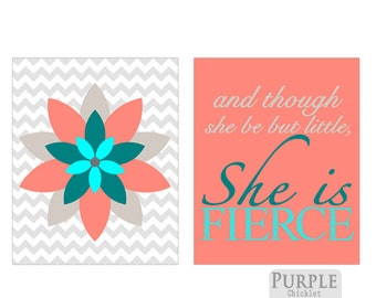 And Though She Be But Little She is Fierce Wall art Coral Aqua Teal Taupe Shakespeare Nursery Art Print Set Coral Art for Girls Room 184(d)
