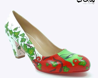 IVY S - DC comics inspired short heels, hand painted, custom design shoes