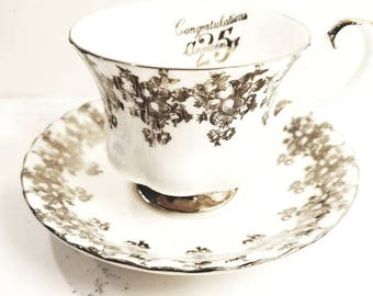 ROYAL ALBERT  Vintage 25th Anniversary Silver Filigree Tea Cup and Saucer / Vintage Tea Party / Collectable