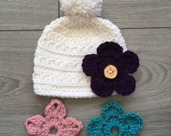 Ready to Ship - White Crochet Grace Hat with PomPom & 3 Interchangeable Flowers - Newborn Size