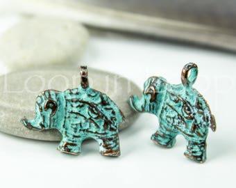 25%OFF Elephant charm Mykonos pendant Green Patina metal Greek casting beads Indian charm Bali Style Elephant bead yoga inspired jewelry