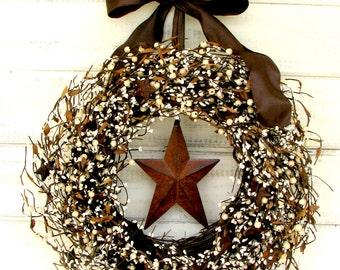 Fall Wreath-Rustic Wreath-Primitive Berry Wreath-Winter Wreath-RUSTIC STAR Wreath-Rustic Home Decor-Primitive Country-Autumn Door Decor